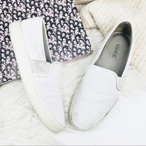 •Vince• Blair White Perforated Slip On Sneakers